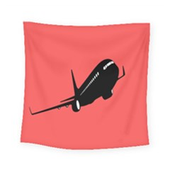 Air Plane Boeing Red Black Fly Square Tapestry (small)