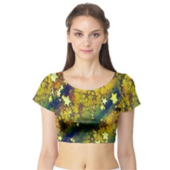 Advent Star Christmas Short Sleeve Crop Top (Tight Fit)