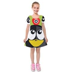 Animals Penguin Kids  Short Sleeve Velvet Dress