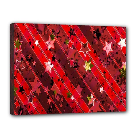 Advent Star Christmas Poinsettia Canvas 16  X 12