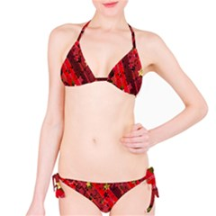 Advent Star Christmas Poinsettia Bikini Set