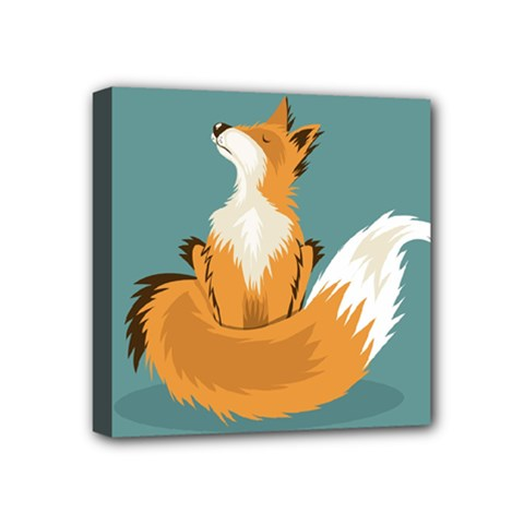Animal Wolf Orange Fox Mini Canvas 4  X 4