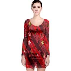 Advent Star Christmas Poinsettia Long Sleeve Bodycon Dress
