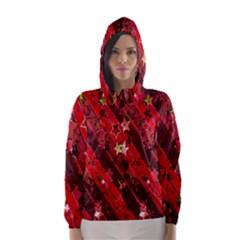Advent Star Christmas Poinsettia Hooded Wind Breaker (Women)
