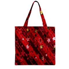 Advent Star Christmas Poinsettia Zipper Grocery Tote Bag
