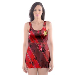 Advent Star Christmas Poinsettia Skater Dress Swimsuit