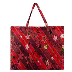 Advent Star Christmas Poinsettia Zipper Large Tote Bag