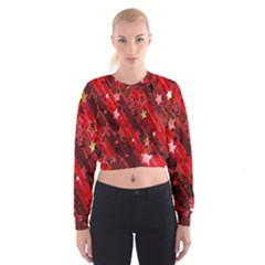 Advent Star Christmas Poinsettia Women s Cropped Sweatshirt