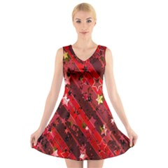 Advent Star Christmas Poinsettia V Neck Sleeveless Skater Dress