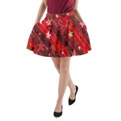 Advent Star Christmas Poinsettia A Line Pocket Skirt