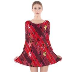 Advent Star Christmas Poinsettia Long Sleeve Velvet Skater Dress