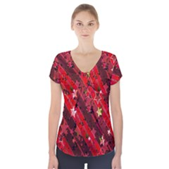Advent Star Christmas Poinsettia Short Sleeve Front Detail Top