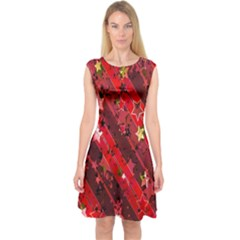 Advent Star Christmas Poinsettia Capsleeve Midi Dress