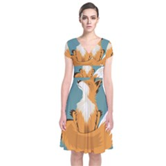 Animal Wolf Orange Fox Short Sleeve Front Wrap Dress