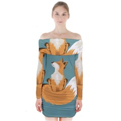 Animal Wolf Orange Fox Long Sleeve Off Shoulder Dress
