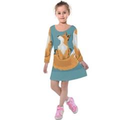 Animal Wolf Orange Fox Kids  Long Sleeve Velvet Dress