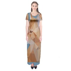Animals Face Cat Short Sleeve Maxi Dress