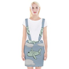 Airplane Fly Cloud Blue Sky Plane Jpeg Suspender Skirt