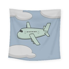 Airplane Fly Cloud Blue Sky Plane Jpeg Square Tapestry (small)