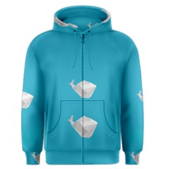 Animals Whale Blue Origami Water Sea Beach Men s Zipper Hoodie