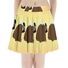 Bear Meet Bee Honey Animals Yellow Brown Pleated Mini Skirt