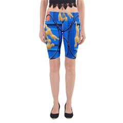 Animal Hare Window Gold Yoga Cropped Leggings