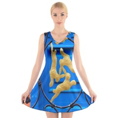 Animal Hare Window Gold V Neck Sleeveless Skater Dress