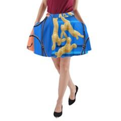 Animal Hare Window Gold A Line Pocket Skirt
