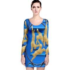 Animal Hare Window Gold Long Sleeve Velvet Bodycon Dress