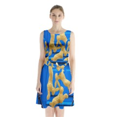 Animal Hare Window Gold Sleeveless Chiffon Waist Tie Dress