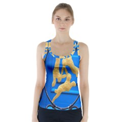 Animal Hare Window Gold Racer Back Sports Top