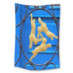 Animal Hare Window Gold Large Tapestry