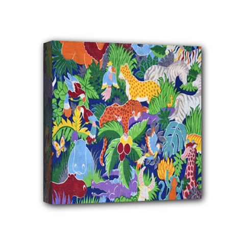 Animated Safari Animals Background Mini Canvas 4  x 4