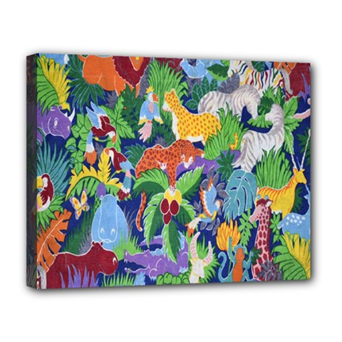 Animated Safari Animals Background Canvas 14  x 11