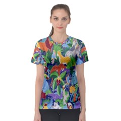 Animated Safari Animals Background Women s Sport Mesh Tee