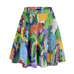 Animated Safari Animals Background High Waist Skirt