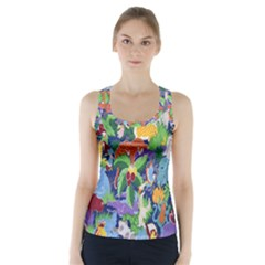 Animated Safari Animals Background Racer Back Sports Top