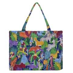 Animated Safari Animals Background Medium Zipper Tote Bag
