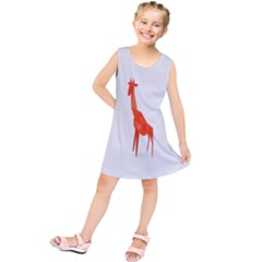 Animal Giraffe Orange Kids  Tunic Dress