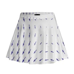 Arrows Blue Mini Flare Skirt