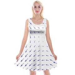 Arrows Blue Reversible Velvet Sleeveless Dress