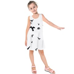 Bird Fly Black Kids  Sleeveless Dress