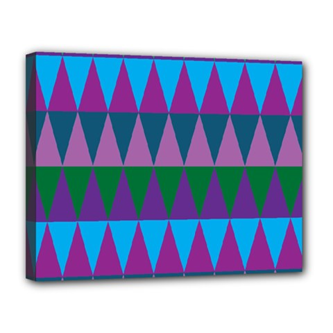 Blue Greens Aqua Purple Green Blue Plums Long Triangle Geometric Tribal Canvas 14  X 11