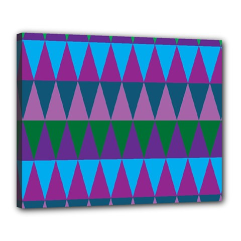 Blue Greens Aqua Purple Green Blue Plums Long Triangle Geometric Tribal Canvas 20  X 16