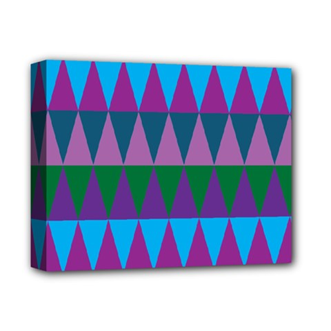 Blue Greens Aqua Purple Green Blue Plums Long Triangle Geometric Tribal Deluxe Canvas 14  X 11