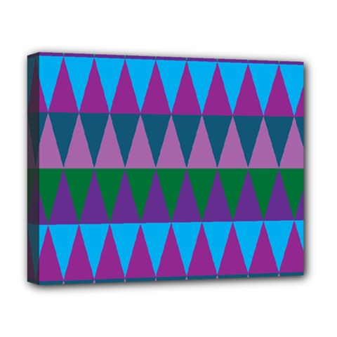 Blue Greens Aqua Purple Green Blue Plums Long Triangle Geometric Tribal Deluxe Canvas 20  X 16