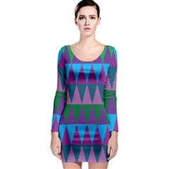 Blue Greens Aqua Purple Green Blue Plums Long Triangle Geometric Tribal Long Sleeve Bodycon Dress