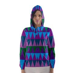 Blue Greens Aqua Purple Green Blue Plums Long Triangle Geometric Tribal Hooded Wind Breaker (women)