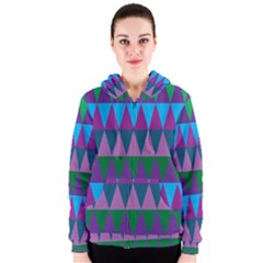 Blue Greens Aqua Purple Green Blue Plums Long Triangle Geometric Tribal Women s Zipper Hoodie