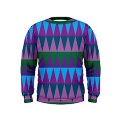 Blue Greens Aqua Purple Green Blue Plums Long Triangle Geometric Tribal Kids  Sweatshirt
